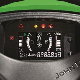 Aufsitzrasenmäher John Deere X950R Messanzeigen und Kontrollleuchten (Schalter zur Veranschaulichung der Funktionen eingeschaltet)